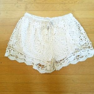 Paper Crane High Rise Lace Crochet Shorts